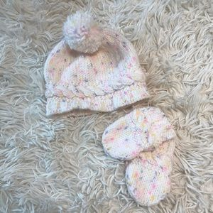 hand made baby beanie and mittens